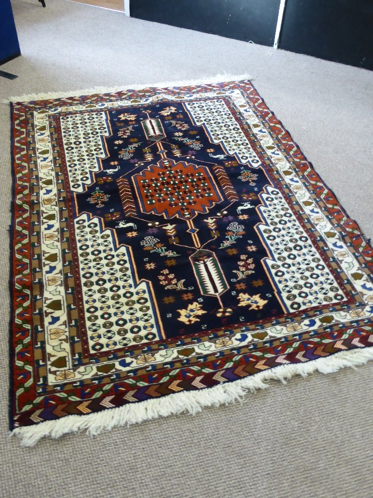 Lot 276 Persian and Silk Nain Rug £260