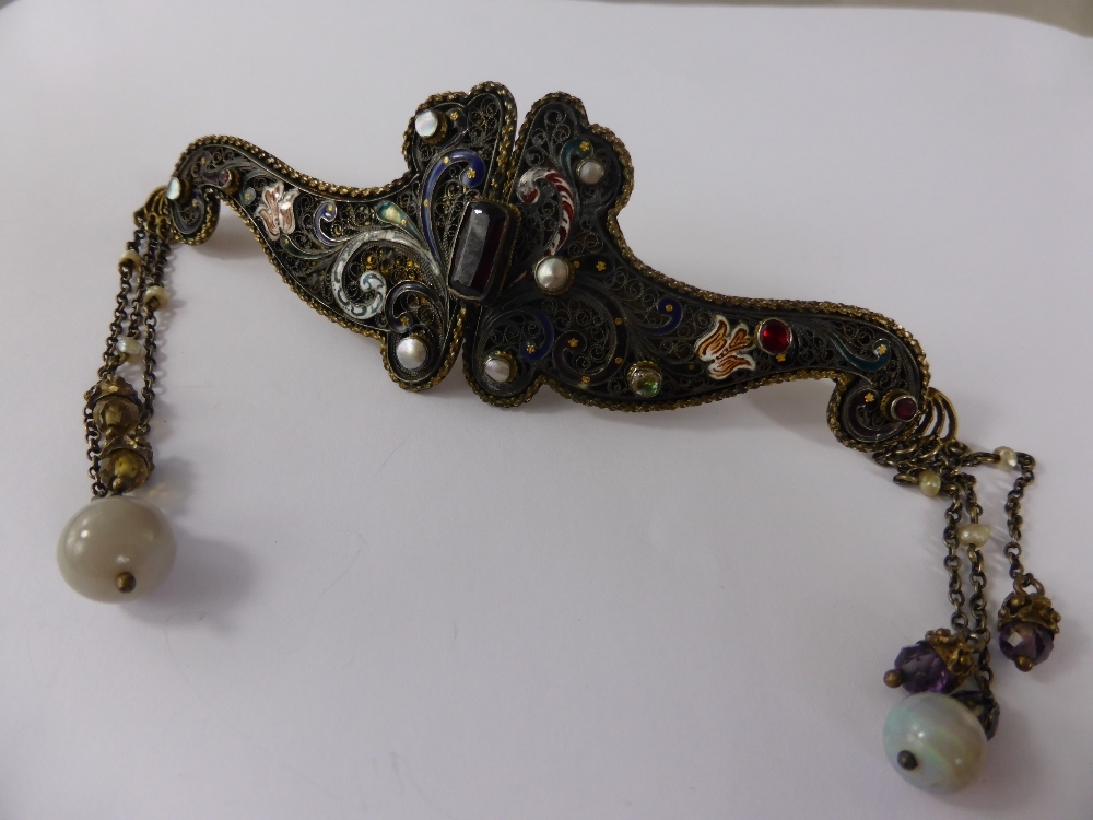 An Antique Silver Filigree and Enamel Cloak Clasp £380