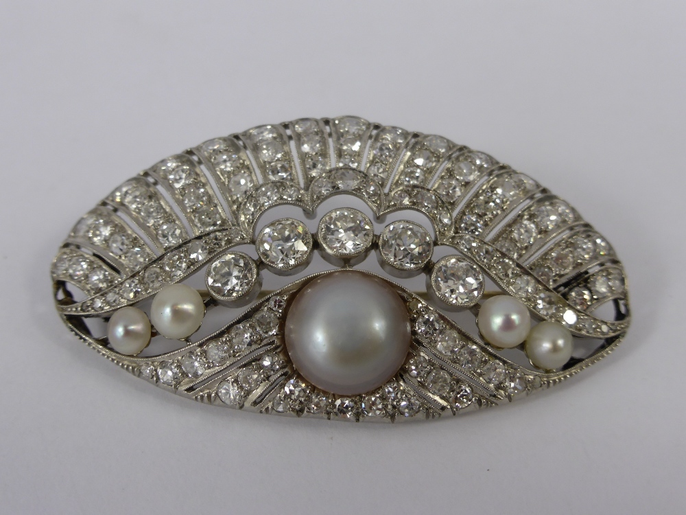 Art Deco 18ct White Gold Diamond & pearl Brooch (4.64 cts) £2000.jpg