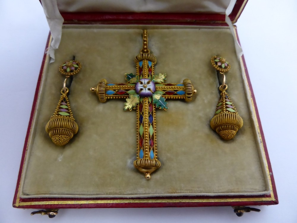 Circa 1880 Continental Gold and Enamel Cross Pendant £1400