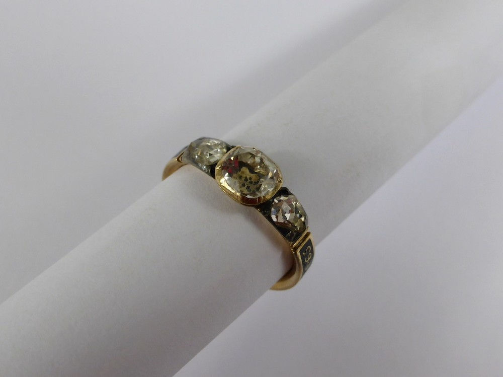 Georgian Gold & Diamond Mourning Ring £1400