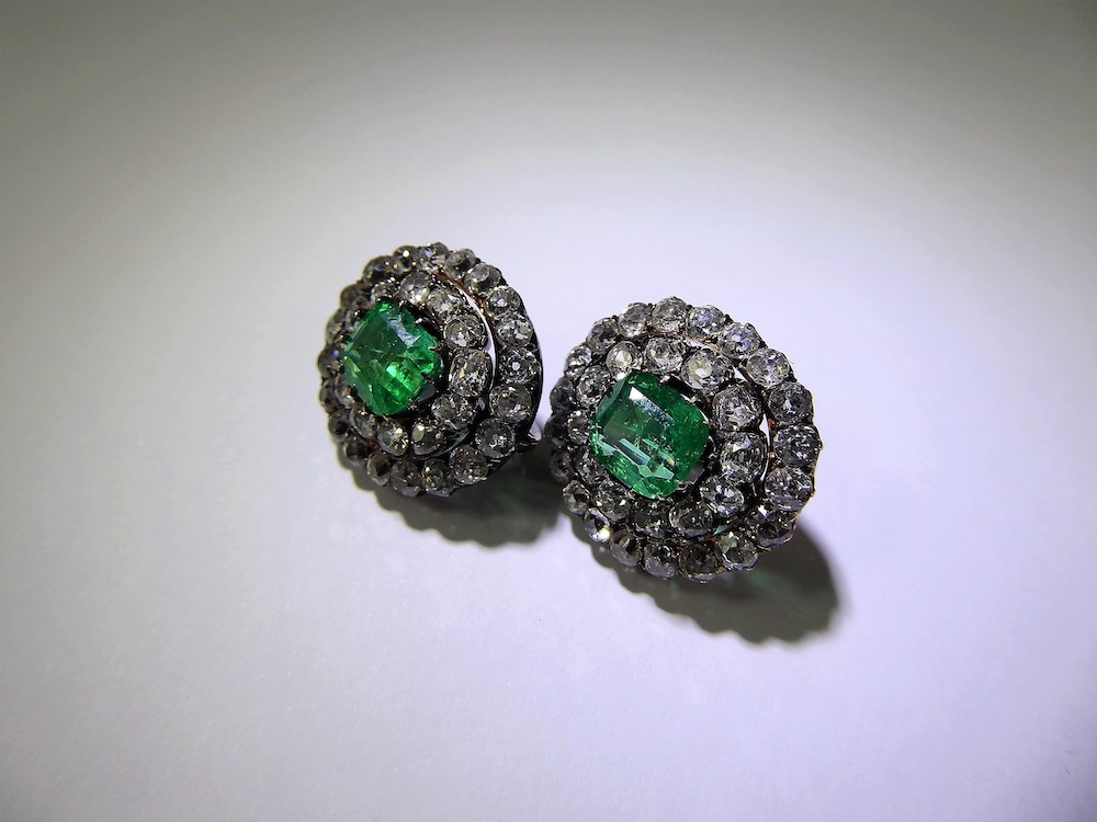 Antique Colombian Emerald & Diamond Earrings £3000