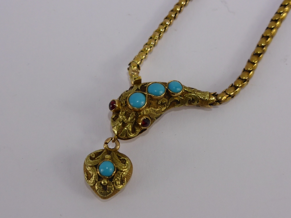 Lady's Gold Turquoise and Ruby Snake Necklace £1000