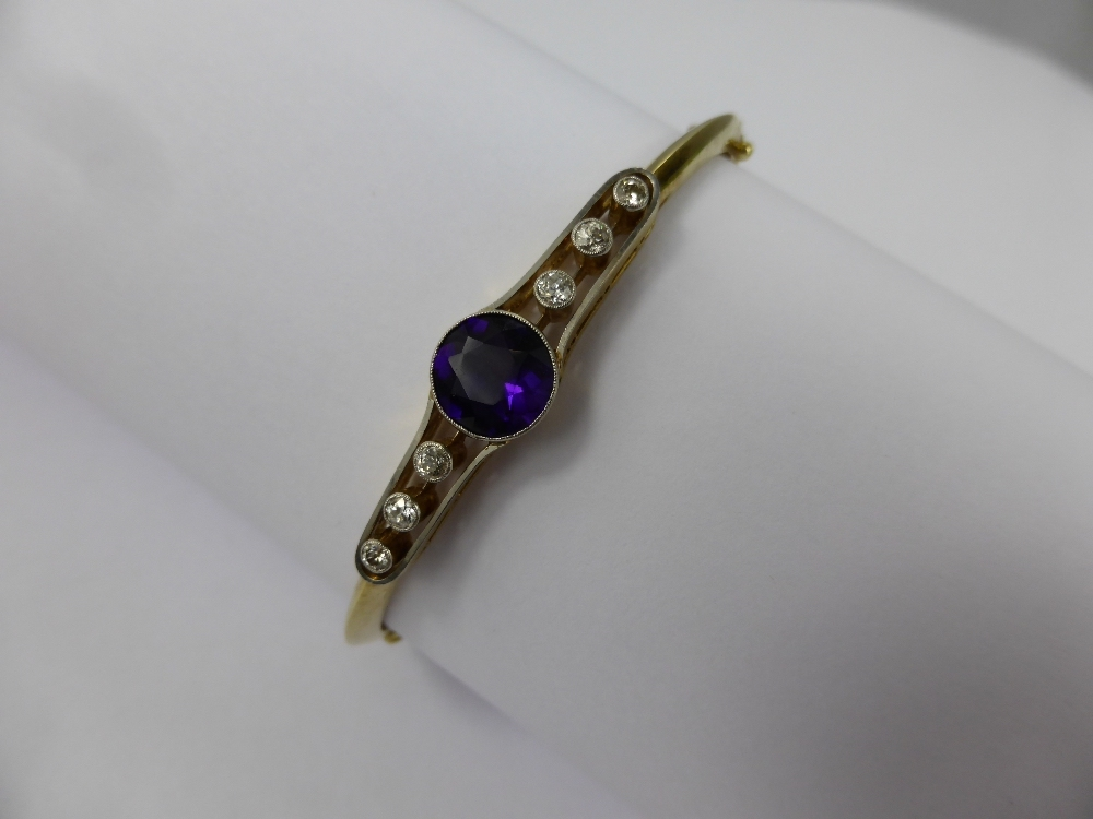 18ct Gold Amethyst & Diamond Bracelet £500