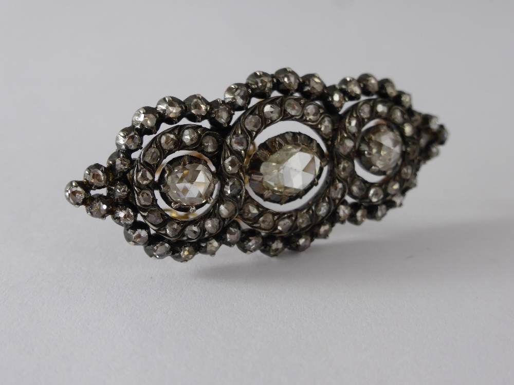 Antique Silver & Rose Cut Diamond Brooch £570