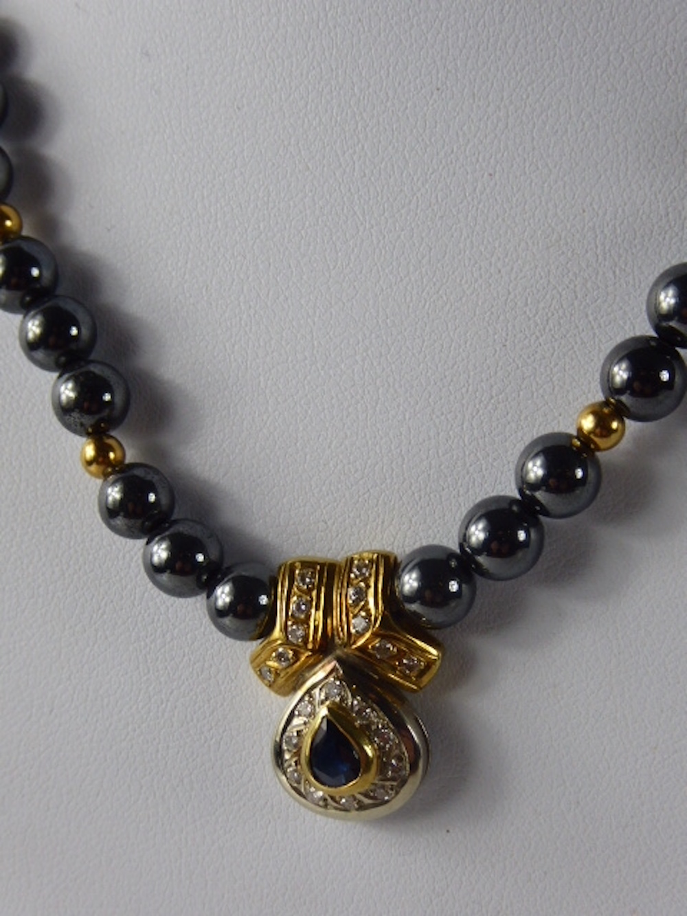 Hematite Diamond and Sapphire Necklace £180
