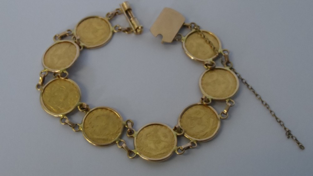 Middle Eastern 22ct Gold Coin Bracelet £430