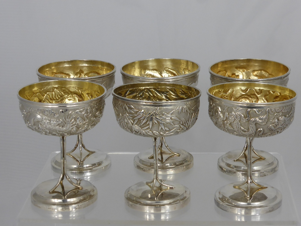 Antique Chinese Silver Champagne Goblets £890