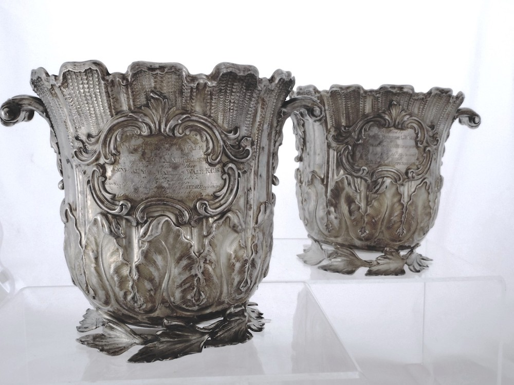 Pair of Solid Silver William IV Regimental Wine Coolers by Charles T Fox £4000