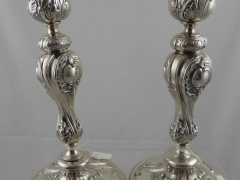 Pair of 1850 Solid Silver Russian Candle Sticks £550