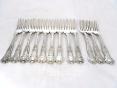 Solid Silver Kings Pattern Large Forks £340