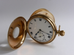 9ct Gold & Blue Enamel Half Hunter Pocket Watch £320