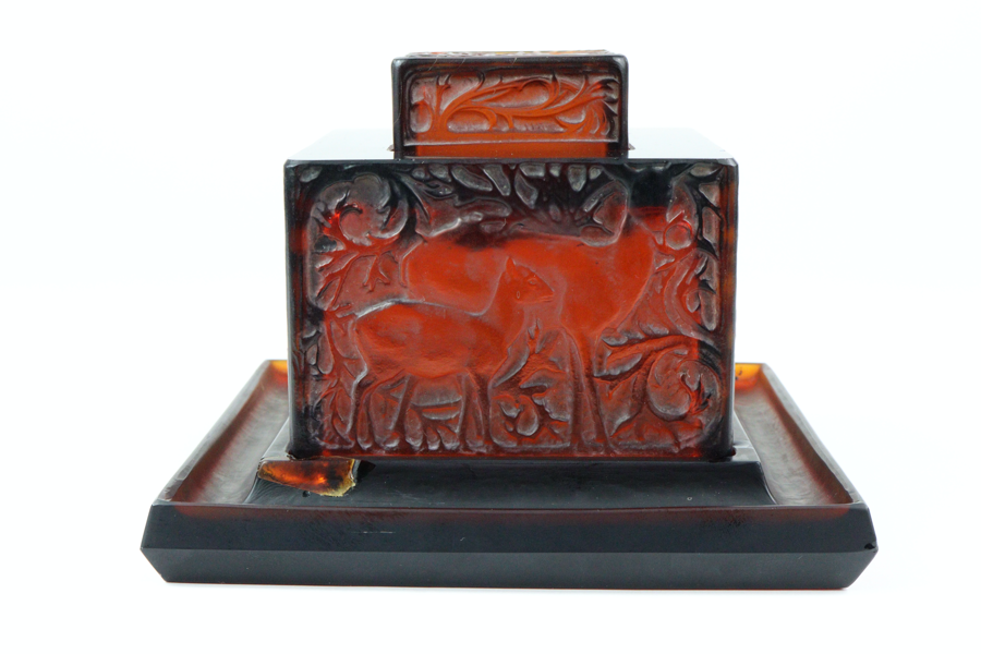 Rene Lalique Amber 'Biches' Inkwell SOLD for £800